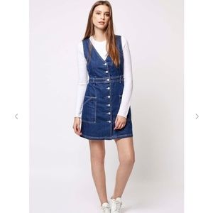 TopShop Moto V-Neck Denim Button Up Dress